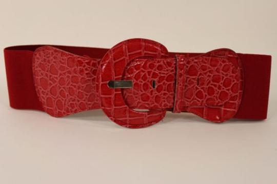 Other Women Fashion Belt Red Elastic Band Hip High Waist Stretch Wide Faux Leather