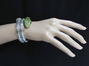 Other Women Bracelet Fashion Silver Metal Snake Head Wrap Black Green Rhinestone