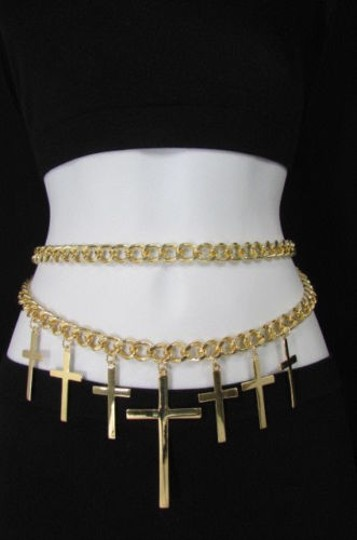 Other Women Gold Thick Metal Chains Fashion Belt Hip Waist Multi Crosses Charm