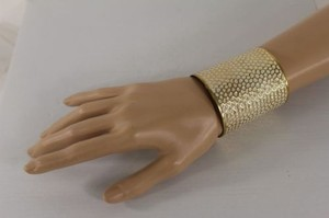 Other Women Gold White Long Bracelet Bangle Metal Cuff Fashion Moroccan Polka Dot