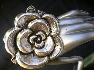 Women Bracelet Unique Metal Cuff Braided Style Big Silver Flower Adjustable