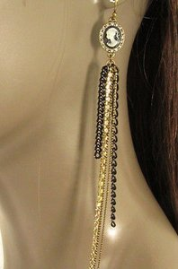 Other Women Earrings Set Fashion 10 Long Gold Black Metal Chains Rhinestones