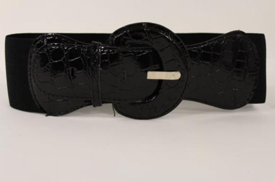 Other Women Fashion Belt Black Elastic Band Hip High Waist Stretch Wide Faux Leather