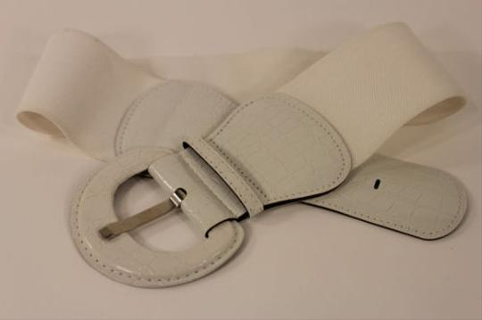 Other Women White Fashion Belt Elastic Low Hip High Waist Stretch Wide Faux Leather