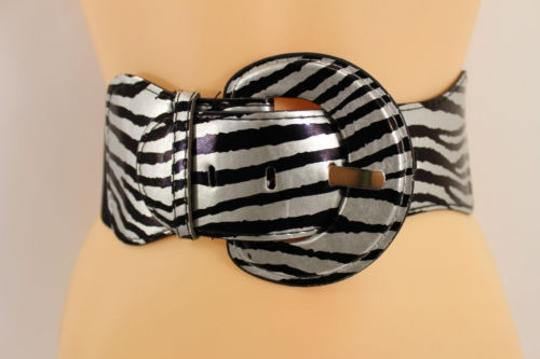Other Women Black Silver Fashion Belt Elastic Hip High Waist Stretch Wide Zebra Print