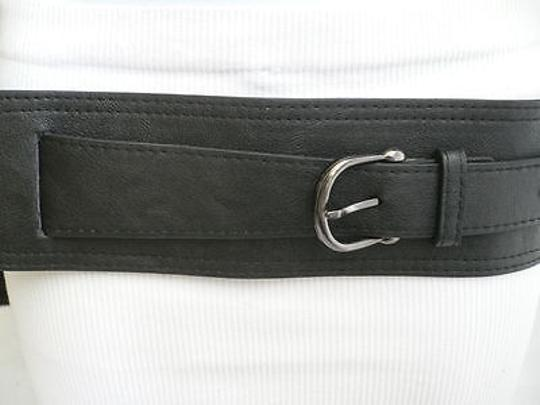 Other Women Hip Stretch Faux Leather Black Wide Band Fashion Belt Fits 28-33