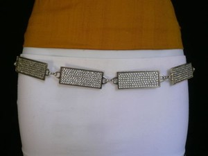 Women Hip Silver Metal Chain Rhinestones Thin Fashion Belt 25-40 Xs-xl