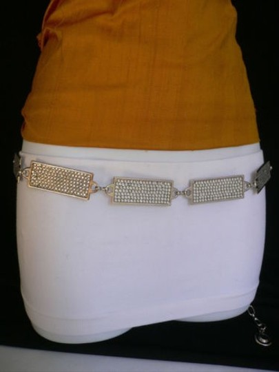 Other Women Hip Silver Metal Chain Rhinestones Thin Fashion Belt 25-40 Xs-xl