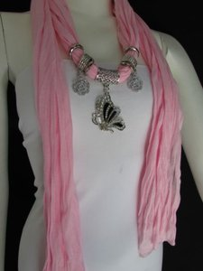 Women Soft Fabric Fashion Pink Scarf Necklace Silver Flying Butterfly Pendant