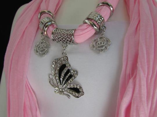 Other Women Soft Fabric Fashion Pink Scarf Necklace Silver Flying Butterfly Pendant