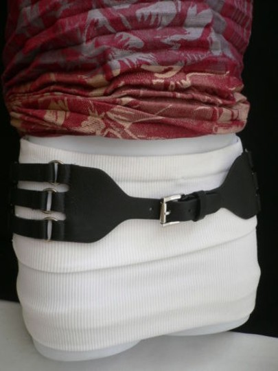 Other Women Hip Waist Elastic Faux Leather Black Fashion Belt Rib Cage 26-33