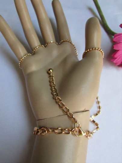 Other Casual Women Gold Rhinestones Metal Hand Chain Slave Bracelet Finger Ring