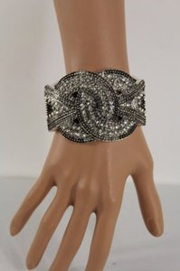 Other Women Rope Metal Knot Tie Bracelet Cuff Bangle Silver Fashion Rhinestones