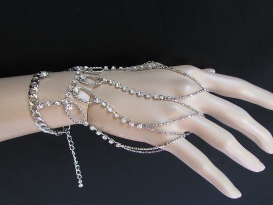 Other Women Bracelet Silver Metal Hand Chains Slave Ring Rhinestones Fingers