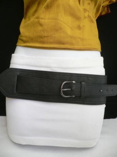 Other Women Hip Elastic Faux Leather Black Wide Band Fashion Belt Fits 28-33 Sm
