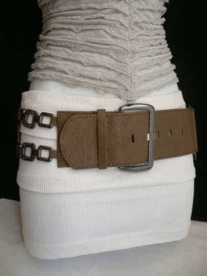 Other Women Hip Waist Elastic Light Brown Fashion Belt Pewter Sm Chains