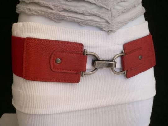 Other Women Hip Waist Elastic Red Wide Fashion Belt Clips Buckle 27-38 S-l