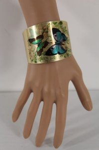 Other Women Antique Gold Bracelet Bangle Metal Butterfly Rose Print Cuff Fashion