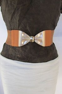 Other Women Hip High Waist Elastic Mocha Brown Fashion Belt Gold Bow Buckle