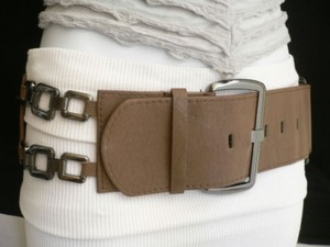 Other Women Hip Waist Elastic L. Brown Fashion Belt Pewter Sm Chains 24-37 Xs-l