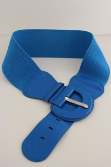 Other Women Belt Wide Elastic Light Blue Fashion Hip High Waist Round Buckle