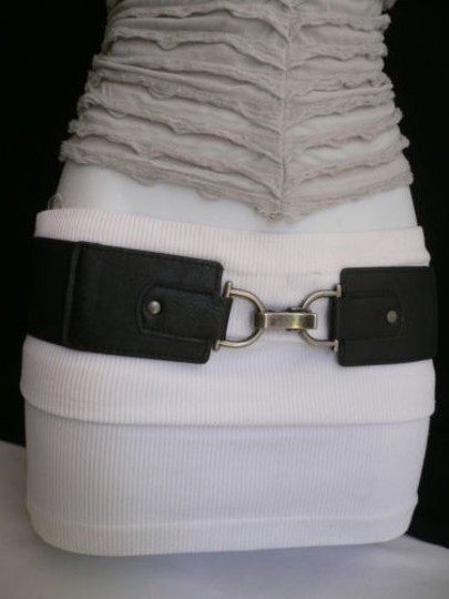 Other Women Hip Waist Elastic Black Wide Fashion Belt Big Clip Buckle 27-35