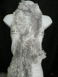 N Women Scarf Shiny Silver Dressy Furry Casual Scarf 100 Polyester Party Style
