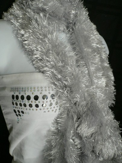 Other N Women Scarf Shiny Silver Dressy Furry Casual Scarf 100 Polyester Party Style