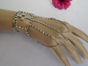 Other Women Silver Cross Rhinestones Metal Hand Chain Slave Bracelet Finger Ring