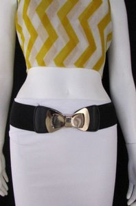 Women Belt Fashion Black Elastic Hip Waist Big Gold Bow Buckle 30-36