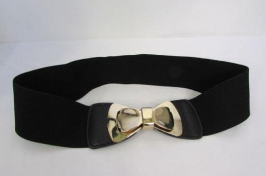 Other Women Belt Fashion Black Elastic Hip Waist Big Gold Bow Buckle 30-36