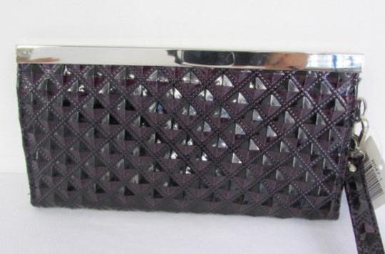 Other Women Wallet Dark Purse Silver Metal Hardwear Mini Purple Clutch