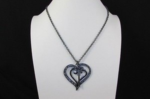 Other Women 26 Long Black Metal Chains Fashion Necklace Big Heart Key Rhinestones