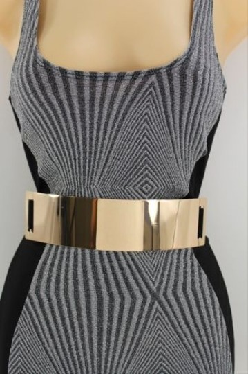Other Women Belt Black Elastic Gold Metal Plate Fashion Hip High Waist Wide Fits