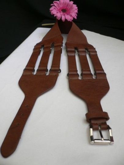 Other Women Hip Elastic Faux Leather Mocha Brown Fashion Belt Rib Cage 26-33
