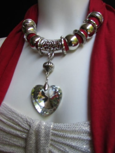 Other Women Necklace Fashion Red Soft Scarf Big Crystal Heart Pendant Christmas