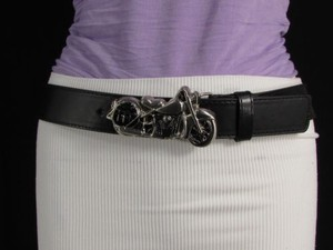 Belt Fashion Black Faux Leather Big Silver Metal Motorcycle Buckle