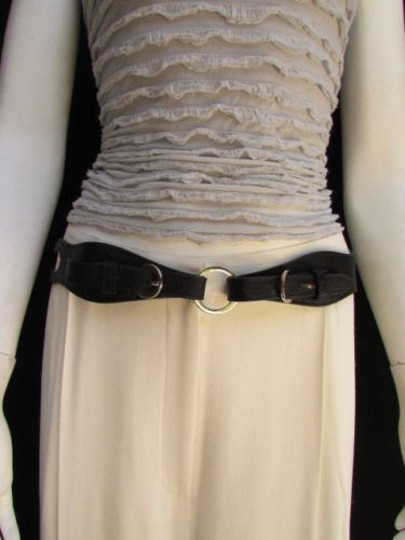 Other Women Belt Fashion High Waist Hip Black Faux Leather Cut Out Rings 32-36