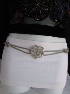 Other Women Belt Hip High Waist Silver Metal Chains Big Flower Charm Wedding Hot