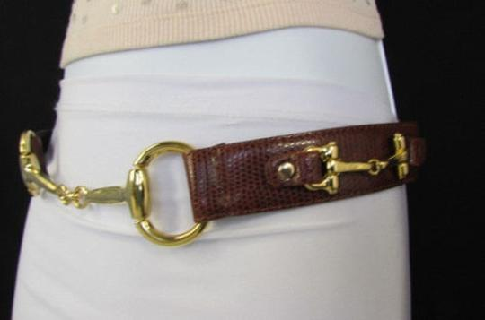 Other Women Belt Fashion Black Brown Thin Faux Snake Leather Gold Metal Buckle