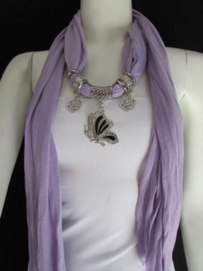 Other Women Fabric Fashion Lavander Scarf Necklace Silver Flying Butterfly Pendant