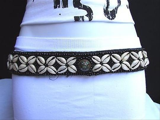 Other Women Belt Fashion Beads Seashells Black Tie Hand Made In India 28-39