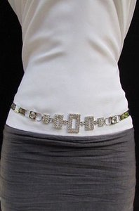Other Women Belt Fashion Metal Squares Hip Waist Silver Chains Rhinestones