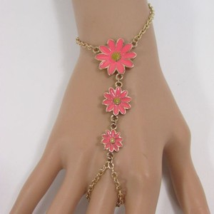 N. Women Gold Metal Hand Chain Fashion Bracelet Slave Pink Daisy Sun Flower Ring