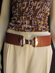 Other Women Hip High Waist Elastic D. Brown Fashion Belt Gold Buckle 27-34 -