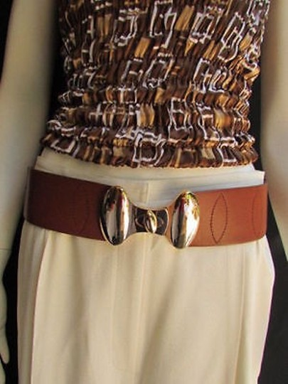 Preload https://item4.tradesy.com/images/women-hip-high-waist-elastic-d-brown-fashion-belt-gold-buckle-27-34--4283908-0-0.jpg?width=440&height=440