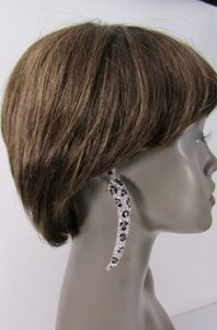 Other Women Silver Metal Leopard Nail Fashion Long Earrings Animal Print Rhinestones