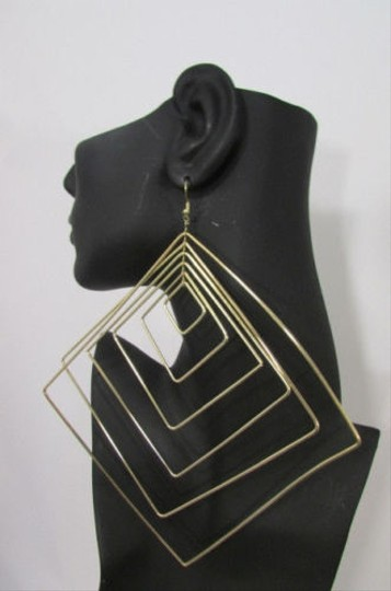Other Women Squares Fashion Jewelry Metal Hoop Big Hook Earrings Silver Gold
