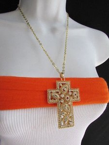 Women Gold Metal Fashion Necklace Wide Cross Pendant Silver Rhinestones