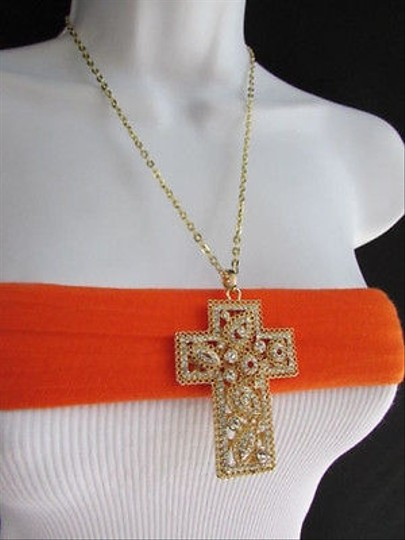 Other Women Gold Metal Fashion Necklace Wide Cross Pendant Silver Rhinestones